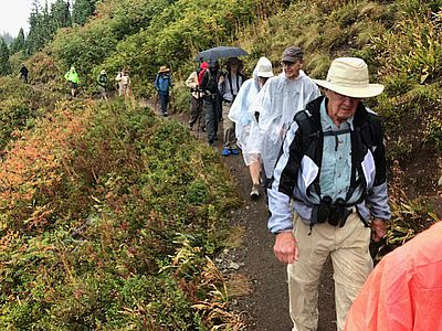 Image - Rain dampened the jackets, and umbrellas, but not the spirits of the birders on the field trip. (Photo by Jan Gano)